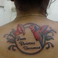 Humming Bird with Flower Tattoo
