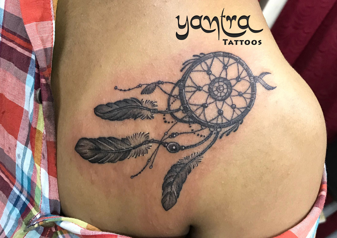 dreamcatcher back shoulder yantra tattoos chennai