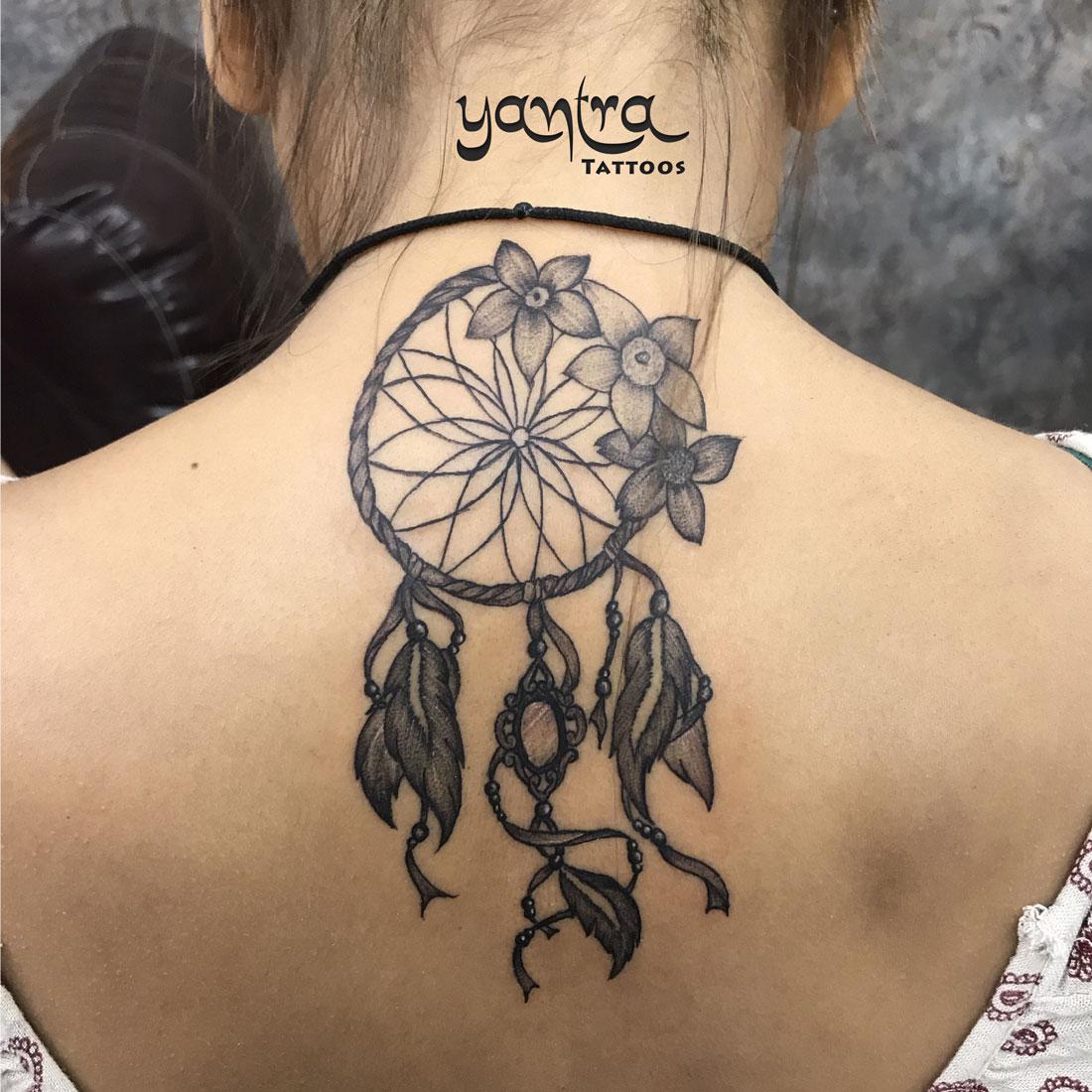 dreamcatcher flower back neck yantra tattoos chennai